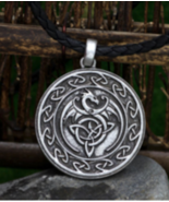 """CELTIC FLYING DRAGON EMBLEM NECKLACE WITH 24"""" CORD NECKLACE JL677 dragon... - $12.34"""