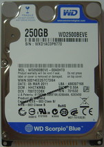 """NEW 250GB IDE WD WD2500BEVE 44PIN 2.5"""" 9.5MM Hard Drive Free USA Shipping"""