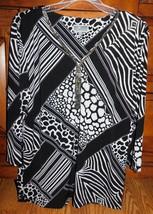 JM Collection Animal Striped 3/4 Sleeve Top Size Medium - $5.69