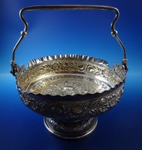 Beautiful Silverplate Repousse Style Victorian Basket Bowl with Handle - $191.25