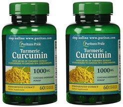 Puritans Pride 2 Pack of Turmeric Curcumin 1000 mg Puritans Pride Turmer... - $15.35