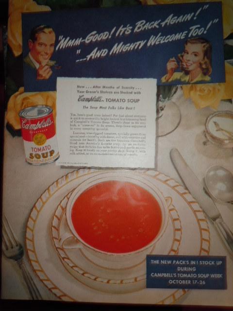 Vintage Campbell's Soup Week October 17-26  Print Magazine Advertisement 1946