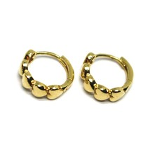18K YELLOW GOLD ROUND CIRCLE HOOP SMALL HEARTS ROW EARRINGS DIAMETER 12mm x 4mm image 2