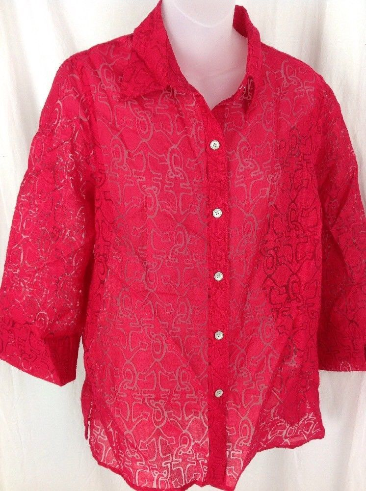 ALFRED DUNNER Anchor Print Button Front 3/4 Slv Blouse Shirt Red Nautical Sz 8 M