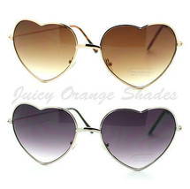Heart Shape Sunglasses Metal Frame Cute Lovely Womens Eyewear Gold Silver - $8.95