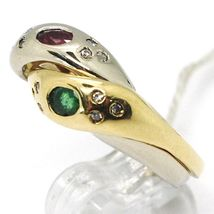 18K YELLOW WHITE GOLD BAND DOUBLE RING, BRAIDED SNAKE, DIAMONDS, RUBY & EMERALD image 2