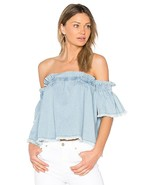 NWT Central Park West Anthropologie Santa Cruz Chambray Off Shoulder Swi... - $23.38