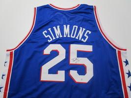 BEN SIMMONS / PHILADELPHIA 76ERS / AUTOGRAPHED 76ERS BLUE CUSTOM JERSEY / COA image 1