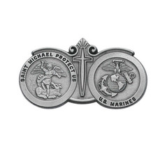 St. Michael & US Marines Seal Visor Clip Protect Us With Cross - $12.19