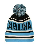 Carolina Adult Size Striped Winter Knit Beanie Hats (Black/Blue) - $11.95