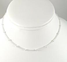 """Silver Tone Strand Tiny Bead Necklace 16"""" Simple Dainty Boho NEW - $3.99"""
