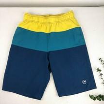 Speedo Swim Trunks Shorts Boy's Large Size 14-16 Striped Yellow Blue  - $16.60