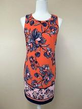 Vince Camuto 6 Orange Pink Navy Blue Floral Sheath Dress - $28.99