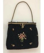Vintage Dofan France Black Micro Beaded Floral Embroidered Handbag - $82.00