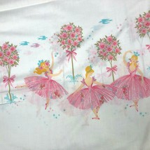 VTG Sears Ballerina Twin Flat Sheet 2 Pillowcases Pink Blue Rose Trees D... - $24.70