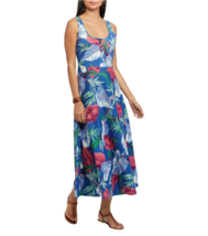 NWT CHAPS BLUE FLORAL COTTON MAXI DRESS SIZE L SIZE XL $79 - $29.69
