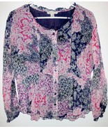 COLDWATER CREEK Shirt Sz 4 Women Lined Blue Red Floral w/Lace Button Front - $18.80