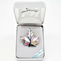 A.T. Storrs Wild Pearle Blush Abalone Shell Maple Leaf Silver Tone Pin Brooch image 1