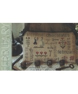 February  Word Play cross stitch chart  With Thy Needle Brenda Gervais  - $9.00