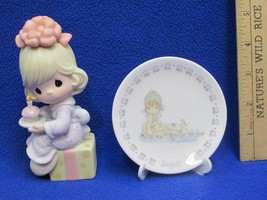 Precious Moments Figurine Wishing You The Sweetest Birthday & Mini Plate... - $12.86