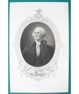 GEORGE WASHINGTON President - 1856 Portrait Print Ornamental Border - $26.96