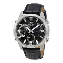 Edifice Black Dial Leather Mens Watch ERA500L-1A - $261.65