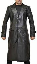 Mens Long Length Welling Smallville S9 Trench Leather Coat image 1