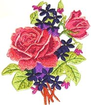 "Custom Pink/Red Rose Bouquet Embroidered Iron on/Sew patch [5"" 5""] [Made... - €8,51 EUR"