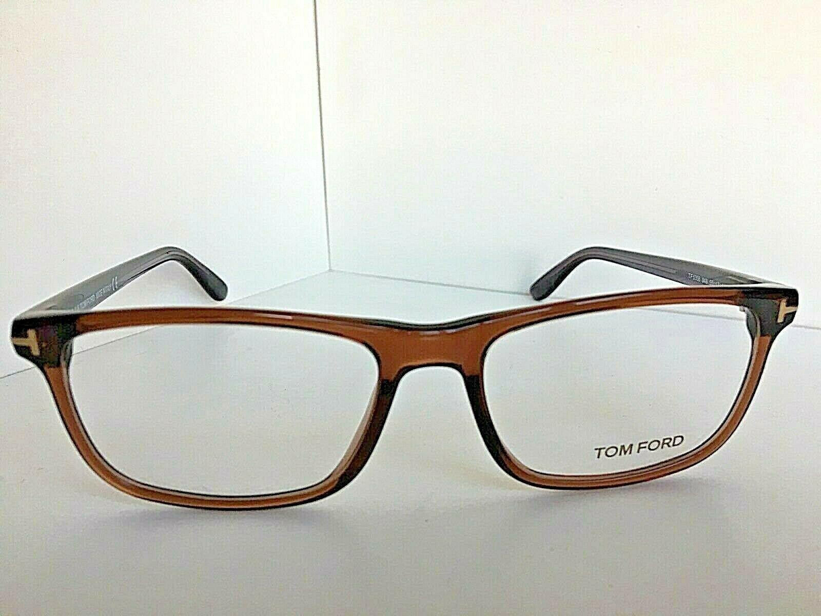 New Tom Ford TF 5356 55mm Transparent Brown Eyeglasses Frame Italy