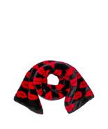 Victoria Secret Red Lips Pattern Black Faux Fur Wrap Shawl Scarf NWT - $48.37