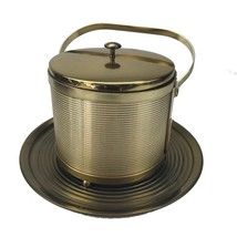 Vintage Ice Bucket Mid Century Modern Brass with Serving Tray Collectible - $55.44