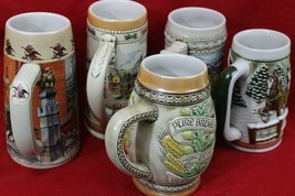 VINTAGE BEER STEINS - 5 TOTAL~LIMITED EDITIONS/MARKED/NUMBERED *COLLECTI... - $33.30