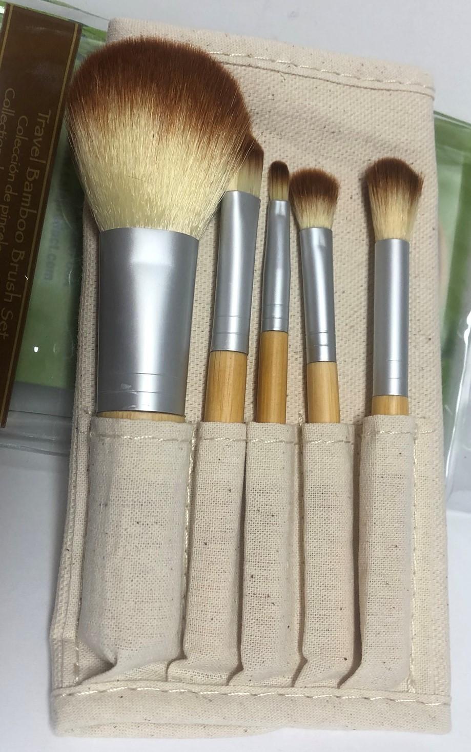 Cala Naturale Bamboo Make Up Brush Set 5 PC Pouch Travel Set image 4