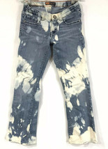 Levi's Girls Denim Bootcut Jeans Sz 12 Adjustable Waist Custom Bleached ... - $24.49
