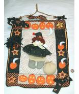 """Handmade Sewn 17""""X12"""" HALLOWEEN Girl Women in Pumpkin Patch Hang Sign De... - $19.78"""