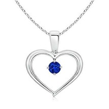 "Solitaire Round Sapphire Open Heart Pendant Necklace 18"" Chain Sterling ... - $284.02"
