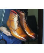 Handmade Mens Wing tip Brogue Square toe Ankle Tan dress boots - $159.97+