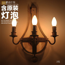 Vintage Wine Barrel Antique Wood & Iron Sconce Wall Lamp E14 Light Home ... - $152.69+
