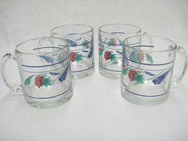 Lenox Poppies on Blue Lot of 4 Clear Glassware Mugs w Lower Band Made in USA - $37.61