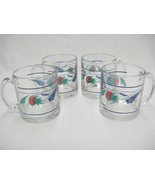 Lenox Poppies on Blue Lot of 4 Clear Glassware Mugs w Lower Band Made in... - $39.59