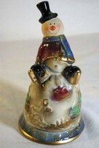 "Hand Glazed Pottery Snowman Bell 5 1/2"" - $10.39"