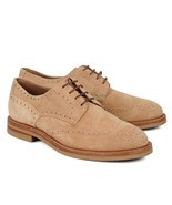 BRUNELLO CUCINELLI Beige Suede Lace Up Wing Tip... - $373.07