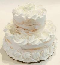 Fake Cake Two Tier Natural Tones White & Tan Fake Cake Decoration Prop - $69.29
