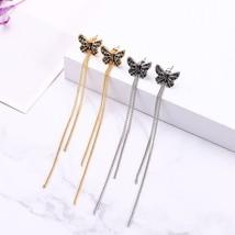Indian Jewelry Crystal Earrings Antique Gold Color Butterfly Tassel Earr... - $6.74