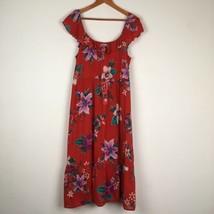 Womens Old Navy L Red Floral Ruffle Neckline Sleeveless Midi Sun Dress S... - $17.82