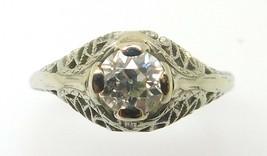 18k White Gold Genuine Natural Diamond Filigree Ring .45ct European (#J779) - $1,095.00