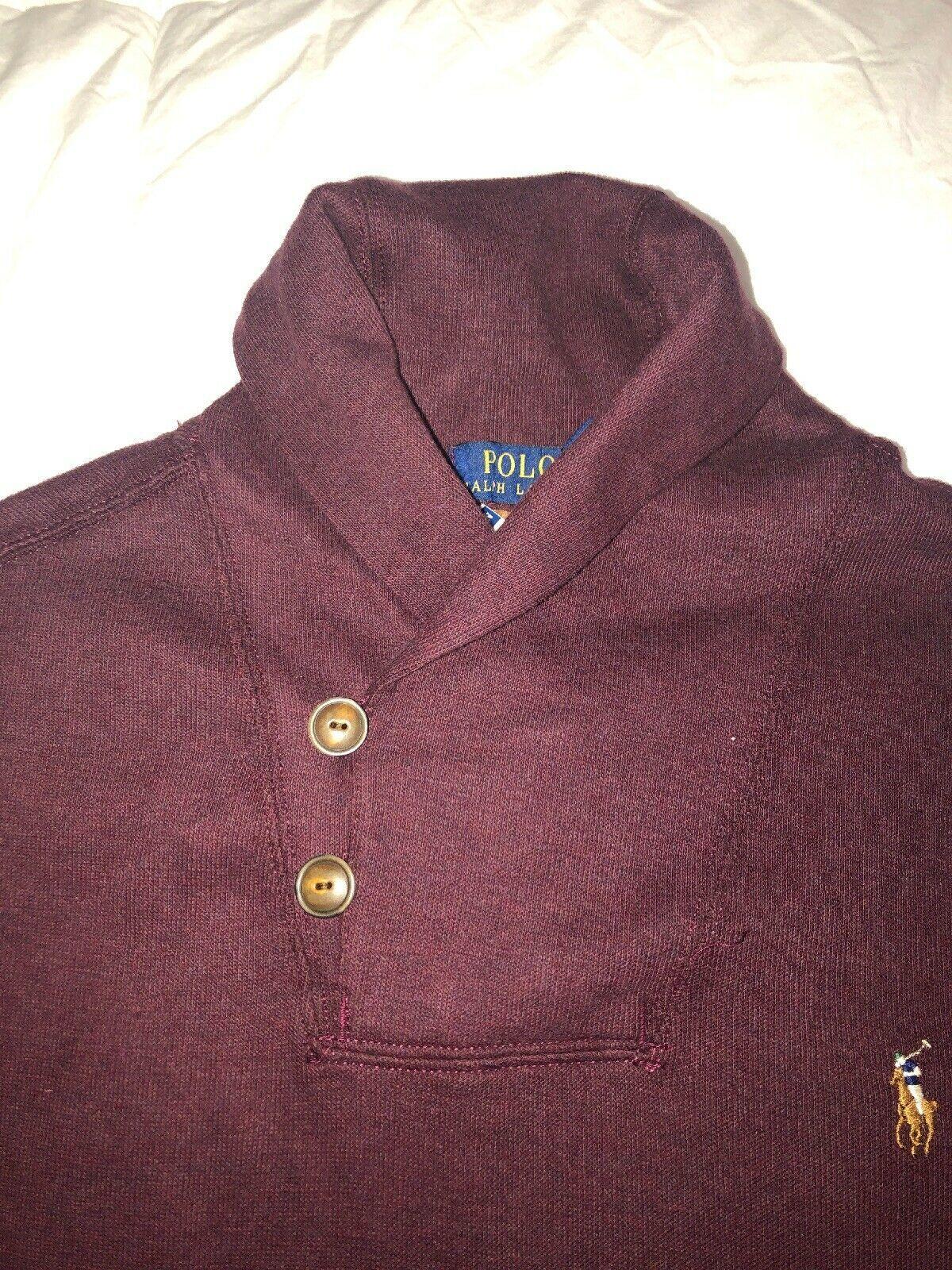 Nwt Polo Ralph Lauren Men's Estate Rib Shawl Neck Sweater Wine L