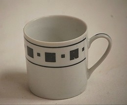 Classic Style Demitasse Cup White w Black Squares & Bands China approx. ... - $6.92