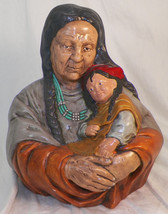 VINTAGE PAINTED NATIVE AMERICAN WITH CHILD BUST SIGNED ZOMOK 94 - $14.99