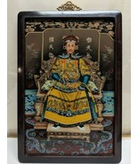 Vtg Gorgeous Hand Painted Chinese Qing Dynasty Emperor Reverse Painting ... - $116.53